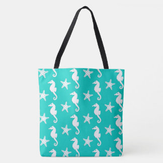 Seahorse & starfish - white on turquoise tote bag
