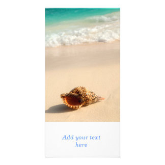 Seashell and ocean wave personalized photo card