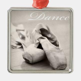 Sepia Ballet Slipper Pointe Shoes Dance Template Silver-Colored Square Ornament