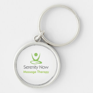 Serenity Now Massage Therapy Silver-Colored Round Keychain