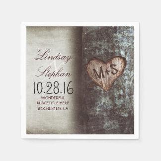 Serviettes rustiques de mariage campagnard avec le serviette en papier