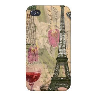 Shabby Chic Paris Eiffel Tower & Red Wine iPhone 4 Case