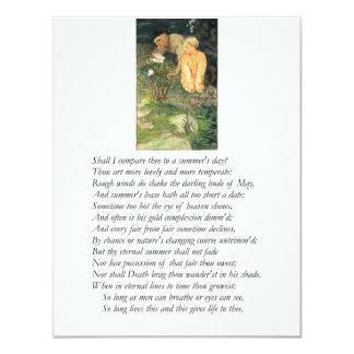 "Shakespeare Sonnet # 18 4.25"" X 5.5"" Invitation Card"