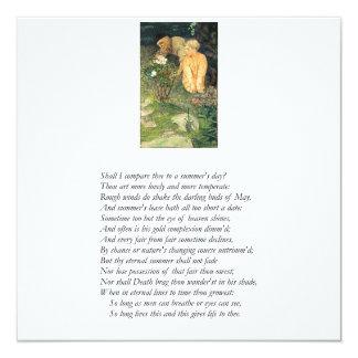 "Shakespeare Sonnet # 18 5.25"" Square Invitation Card"