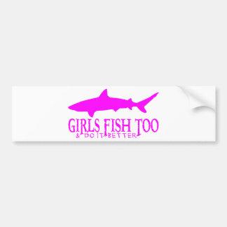 SHARK FISHING GIRL BUMPER STICKER