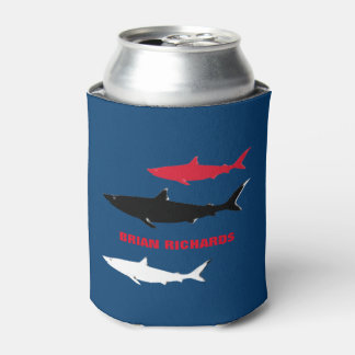 sharks with his name, blue can cooler
