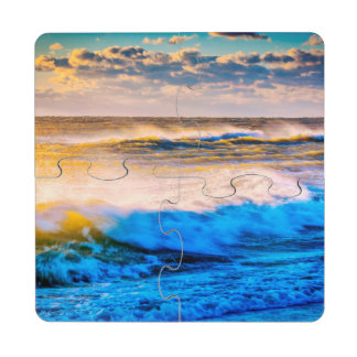 Shoreline scenic at sunrise drink coaster puzzle