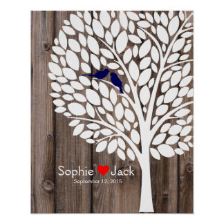 signature wedding guest book tree navy blue wood poster