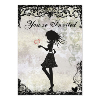 Silhouette Teen Girl and Hearts Birthday Invite