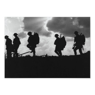 "Silhouetted Marching World War I Soldiers (1917) 5"" X 7"" Invitation Card"
