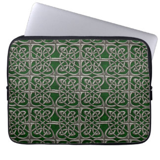 Silver And Green Connected Ovals Celtic Pattern Computer Sleeve