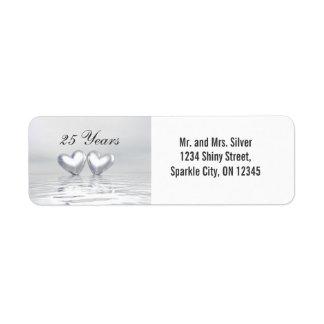 Silver Anniversary Hearts Return Address Label