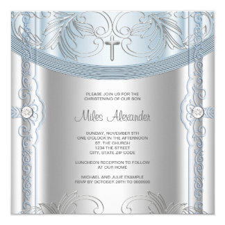 "Silver Blue Baby Boy Christening 5.25"" Square Invitation Card"