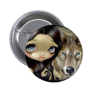 """""""Silver Eyed Wolf"""" Button"""