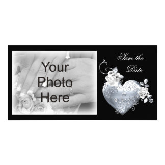 Silver Filigree Heart & White Roses Customized Photo Card