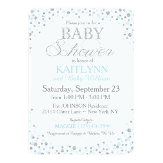 """Silver Glitter and Blue Sprinkle Baby Shower 5"""" X 7"""" Invitation Card"""