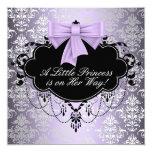 "Silver Purple Black Princess Baby Girl Shower 5.25"" Square Invitation Card"