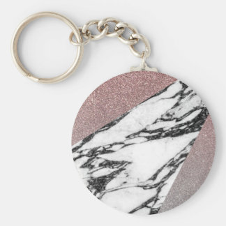Silver Rose Gold Glitter and Marble Geometric Basic Round Button Keychain