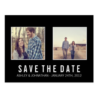 Simple Black Photo Save The Date Post Cards