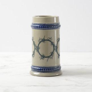 Simple Blue Fractal 18 Oz Beer Stein