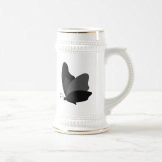 Simple Butterfly - Grey & Black 18 Oz Beer Stein
