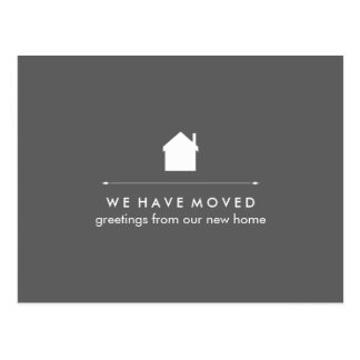Simple Classic Gray and White House New Address Postcard