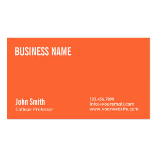 Simple Plain Orange Professor Business Card