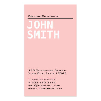 Simple Plain Pink Professor Business Card