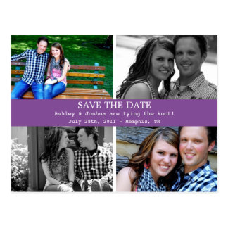 Simple Purple Photo Save The Date Post Cards