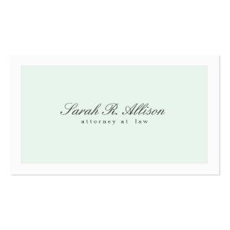 Simply Elegant Attorney Light Aqua Business Card