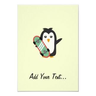 "Skateboard Penguin 3.5"" X 5"" Invitation Card"