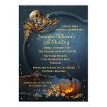 "Skull and Pumpkin Halloween Birthday Party 5"" X 7"" Invitation Card"