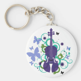 Sky Violin Design Basic Round Button Keychain
