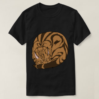 Sleeping Cat (Curled Up) Classic Tabby Brown Tee Shirts
