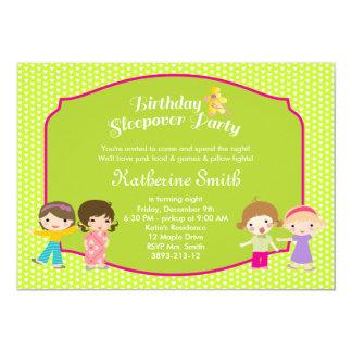 "Sleepover Birthday Bright Green Party 5"" X 7"" Invitation Card"