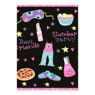 """Slumber Party for Girls 5"""" X 7"""" Invitation Card"""