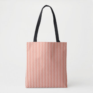 Small chevron pattern in natural colors pink red tote bag