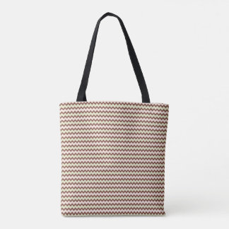 Small chevron pattern warm brown pale pink green tote bag