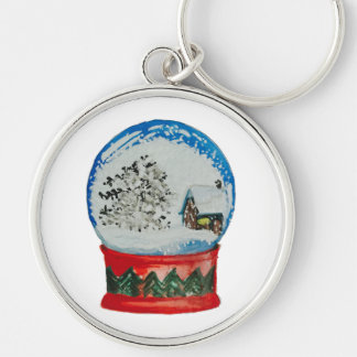 Snow Globe Crystal Ball Winter Village Christmas Silver-Colored Round Keychain
