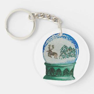 Snow Globe Glass Ball Winter Wonderland Christmas Single-Sided Round Acrylic Keychain
