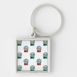 Snow Globe Pattern Winter Christmas Red and Green Silver-Colored Square Keychain