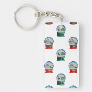 Snow Globe Pattern Winter Christmas Red and Green Single-Sided Rectangular Acrylic Keychain