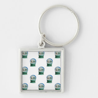 Snow Globe Repeat Pattern Winter Village Christmas Silver-Colored Square Keychain