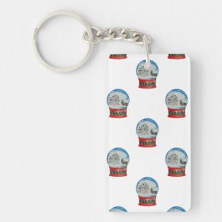 Snow Globe Repeat Pattern Winter Village Christmas Single-Sided Rectangular Acrylic Keychain