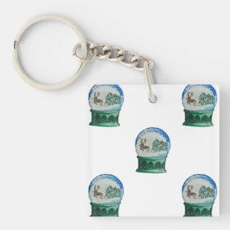 Snow Globe Repeat Pattern Winter Village Christmas Single-Sided Square Acrylic Keychain