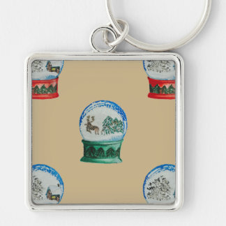 Snow Globes Mixed Pattern Christmas Gold Backdrop Silver-Colored Square Keychain