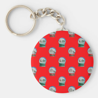Snow Globes Mixed Pattern Christmas Red Background Basic Round Button Keychain