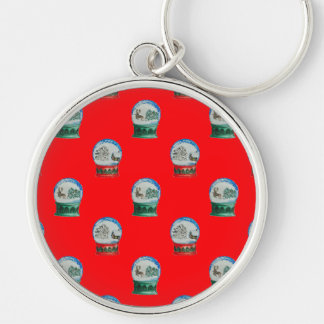 Snow Globes Mixed Pattern Christmas Red Background Silver-Colored Round Keychain