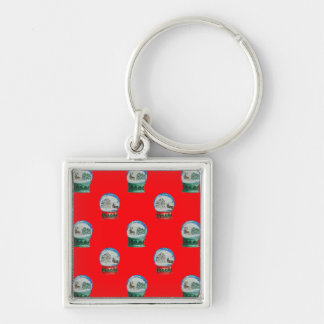 Snow Globes Mixed Pattern Christmas Red Background Silver-Colored Square Keychain