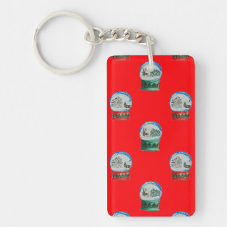 Snow Globes Mixed Pattern Christmas Red Background Single-Sided Rectangular Acrylic Keychain